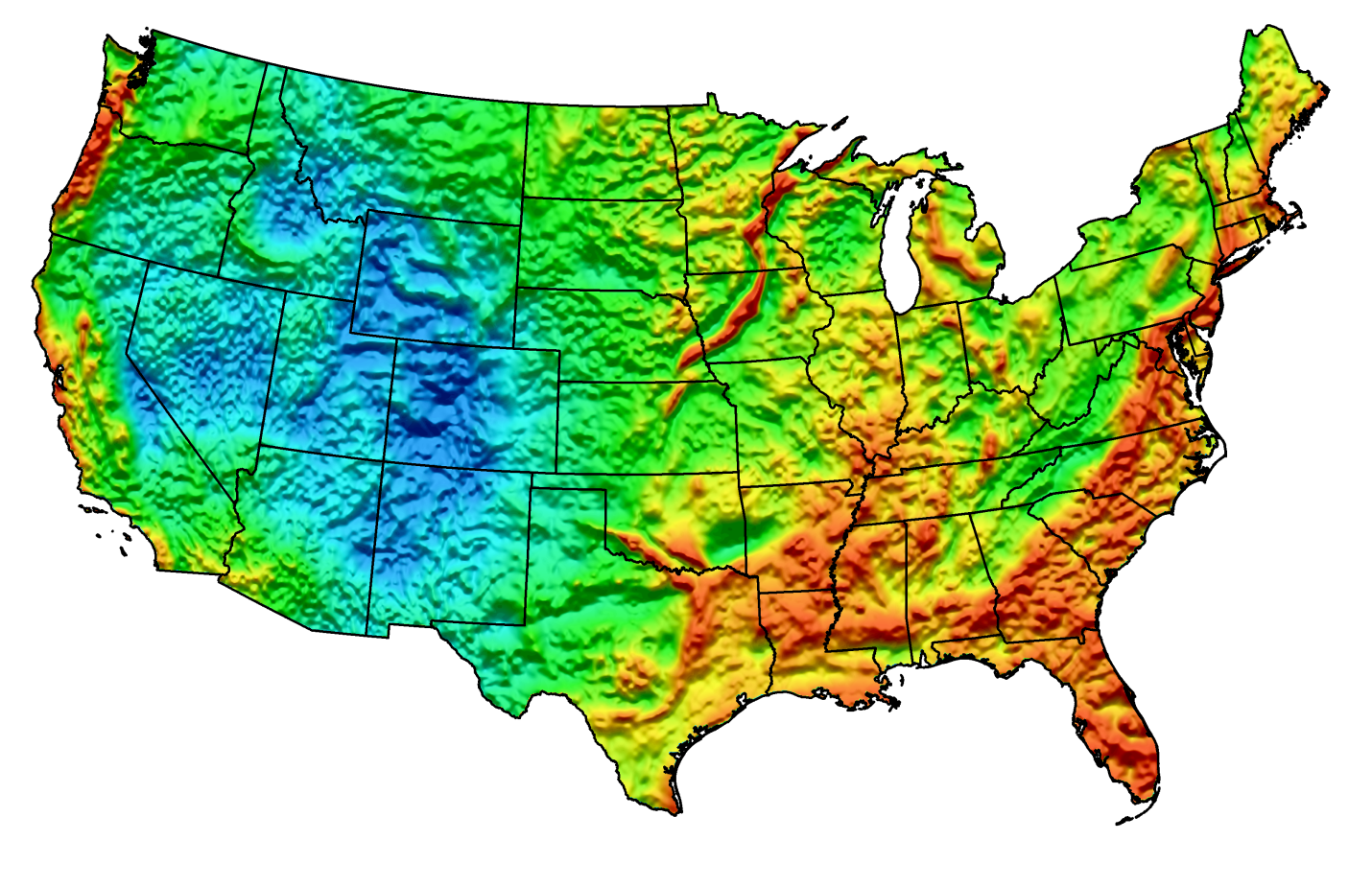 Gravity And Magnetic Data Brokerage Gravity Map Service - Magnetic map of us
